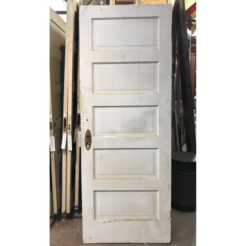 "D19126 - Antique Painted and Varnished Pine Five Horizontal Panel Interior Door 30"" x 79-1/4"""
