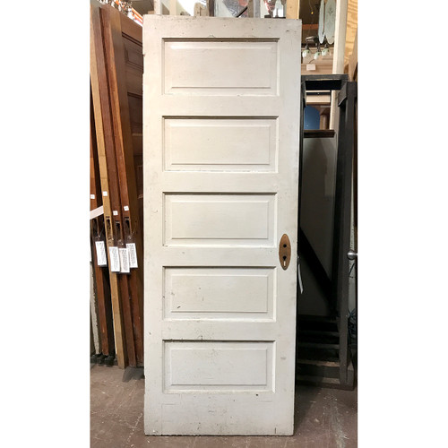 "D19127 - Antique Painted and Varnished Pine Five Horizontal Panel Interior Door 29-1/4"" x 79-1/4"""