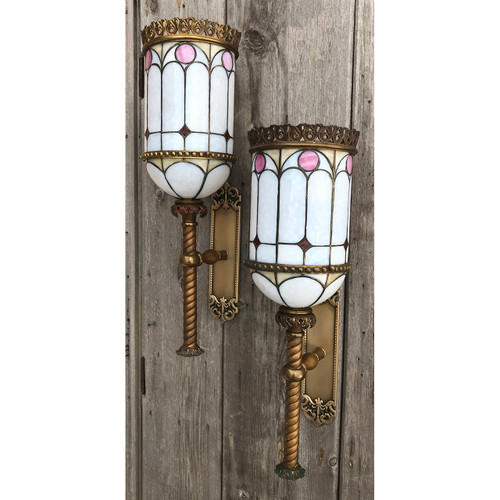 L19202- Pair of Large Scale Antique Beaux Arts Bent Panel Torchiere Sconces