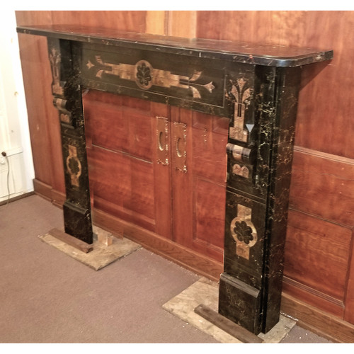 M20001 - Antique Renaissance Revival Marbleized Slate Half Mantel
