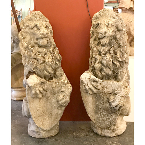 A20021 - Pair of Antique Cast Stone Lions