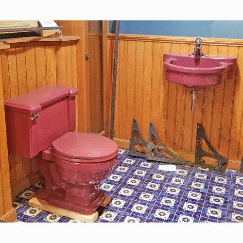 P20004 - Antique Art Moderne Burgundy Toilet and Sink Set