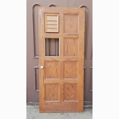 "D20072 - Vintage Paneled Oak Interior/Exterior Door 35-7/8"" x 82-3/4"""