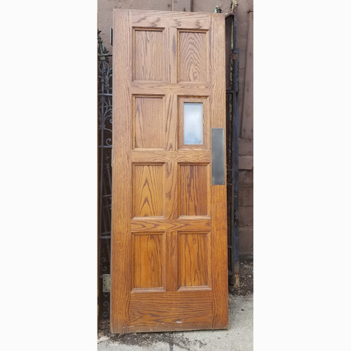 "D20075 - Vintage Exterior Steel Fire Door with Paneled Oak Interior 30"" x 83"""