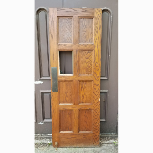"D20081 - Vintage Paneled Oak Interior/Exterior Door 30"" x 84"""