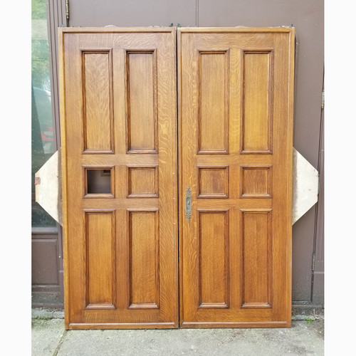 "D20082 - Pair of Vintage Paneled Oak Interior Pocket Doors 64"" x 84"""