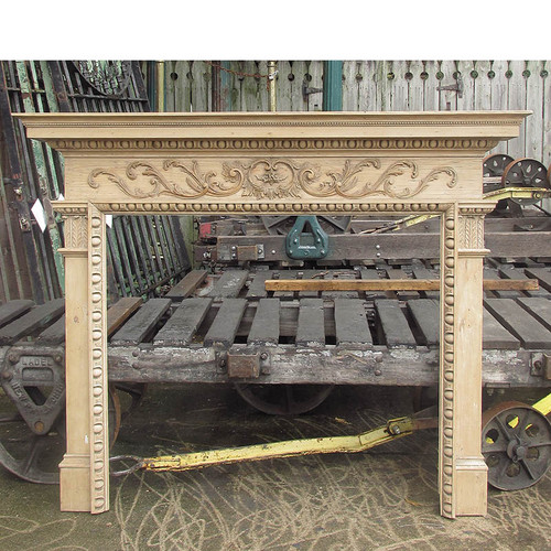 M20010 - Antique Georgian Period Carved Pine Fireplace Mantel