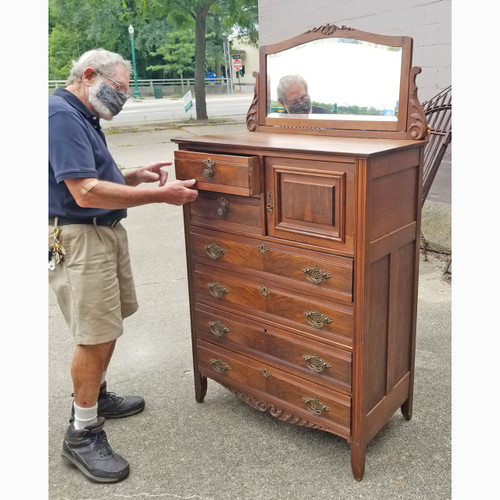 F20080 - Antique Victorian Era Walnut Dresser