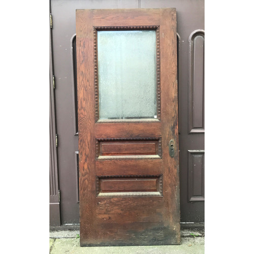 "D20108 - Antique Oak Exterior Door Textured Beveled Glass 40"" x 93-1/2"""