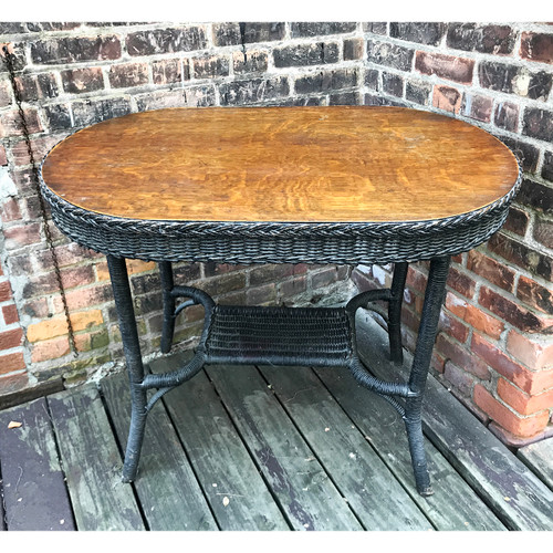 F20098 - Antique Oval Oak and Wicker Table