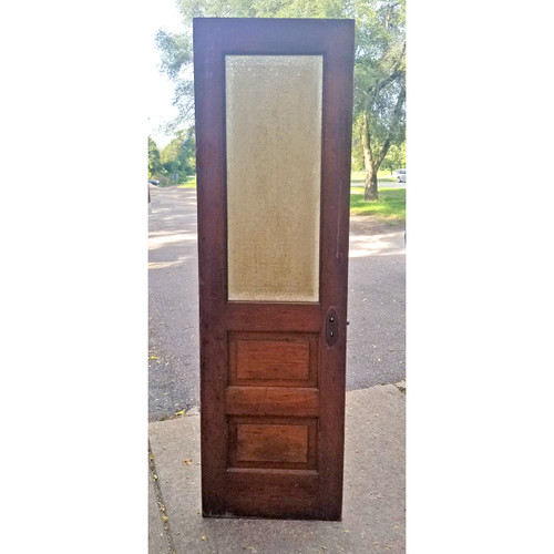 "D20114 - Antique Pine Interior Door with Privacy Glass 23"" x 78"""