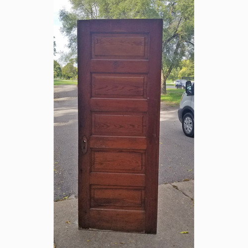 "D20116 - Antique Pine Five Horizontal Raised Panel Interior Door 30"" x 77-1/2"""