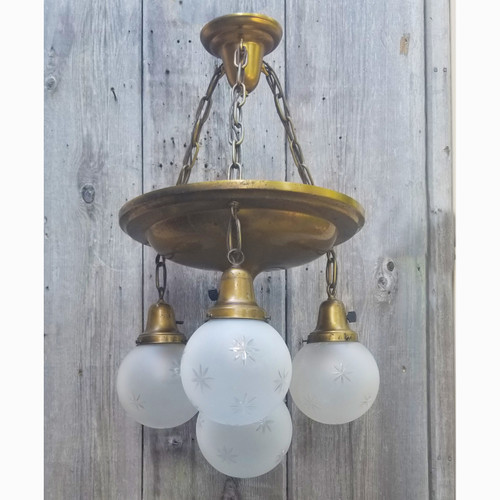 L20115 - Antique Colonial Revival Four Light Hanging Pan Fixture