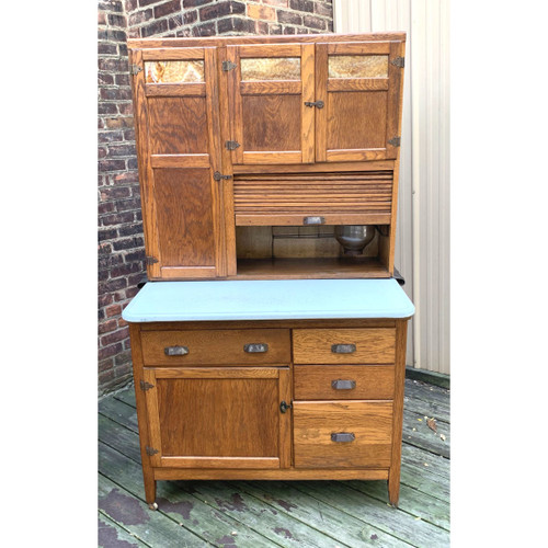 "F20109 - Antique Oak ""Hoosier Style"" Baking Cabinet"