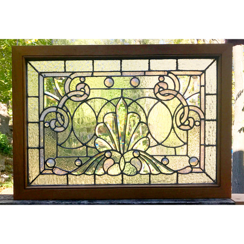 G20048 - Antique Late Victorian Beveled & Jeweled Glass Window
