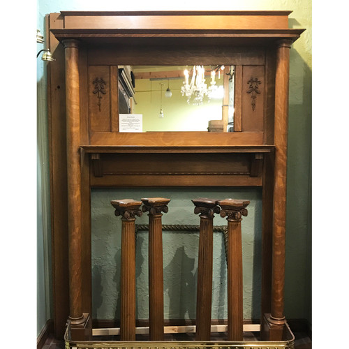 M20015 - Antique Quartersawn Oak Full Mantel