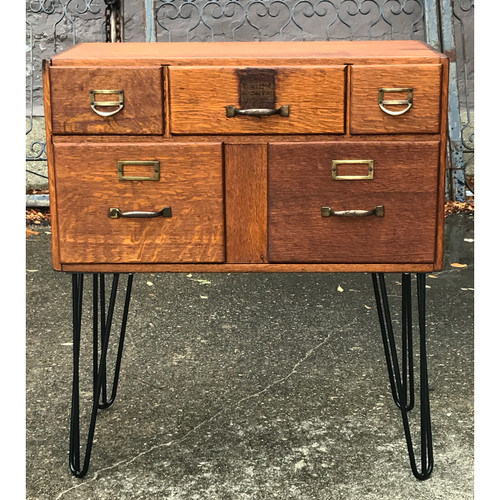 F20123 - Antique Oak Card Catalog Cabinet or Side Table