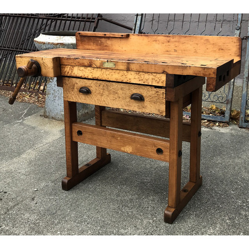 F20116 - Antique Maple Industrial Style Carpenters Workbench
