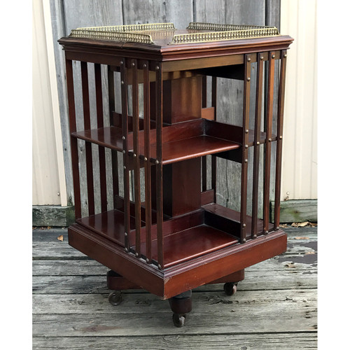 F20125 - Antique Rotating Bookshelf With Brass Gallery
