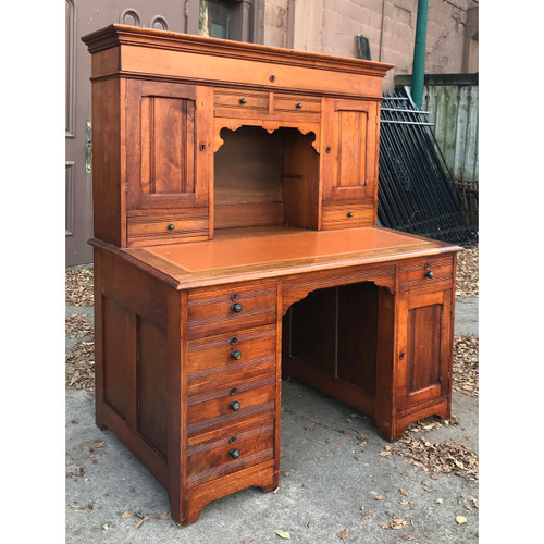 F20128 - Antique Two-Piece Butternut Plantation Desk
