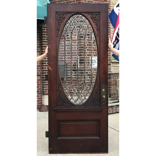 "D20127 - Antique Quartersawn Oak Exterior Door with Oval Beveled Glass 36"" x 89-1/4"""