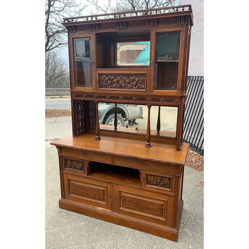 F20139 - Antique Aesthetic Movement Chestnut Court Cupboard