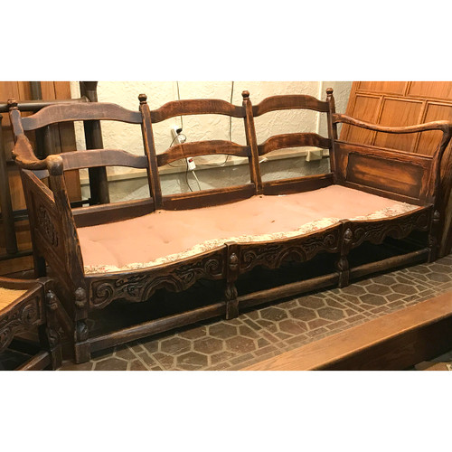 F20147 - Antique Matched Arts and Crafts Oak Sofa, Armchair, and Ottoman Frame