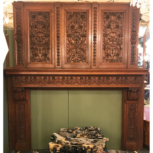 M20019 - Antique Quartersawn Oak Italian Renaissance Revival Full Mantel