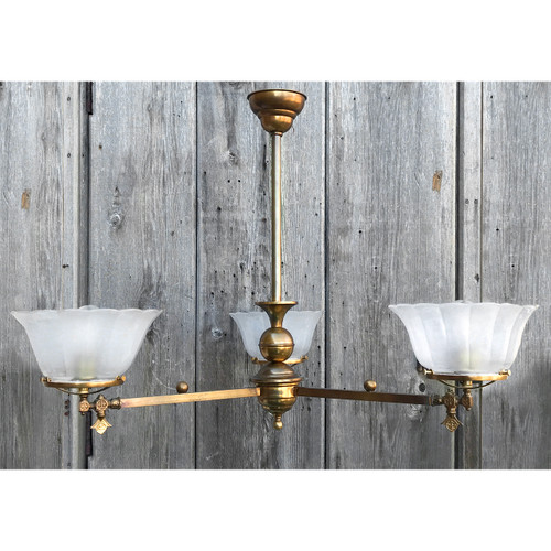 L20165 - Antique Late Victorian Three Arm Gas Fixture