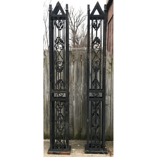 A20066 - Vintage Pair of Wrought Iron Gate Posts