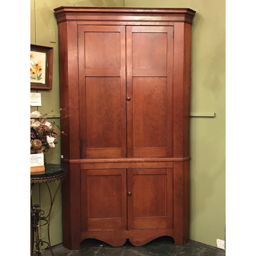 F20163 - Antique Victorian Era Cherry Corner Cupboard