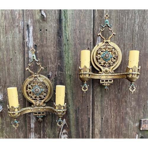 L20180 - Pair of Tudor Revival Double Arm Sconces
