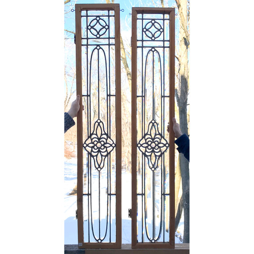 G20011 - Pair of Antique Late Victorian Beveled Glass Sidelights