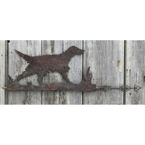 A21034 - Antique Directional Weathervane with Dog Folk Art