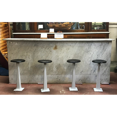 F21029 - Antique Carrera Marble Soda Fountain Front Bar with Four Barstools