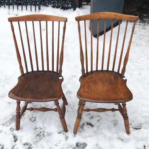 F21031 - Pair of Early 19th Century Antique Windsor Style Side Chairs