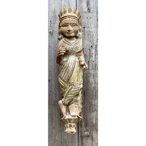 A21039 - Antique East Indian Wall Hung Statuette Folk Carving