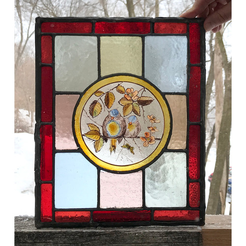 G21013B - Antique Victorian Stained Glass Window