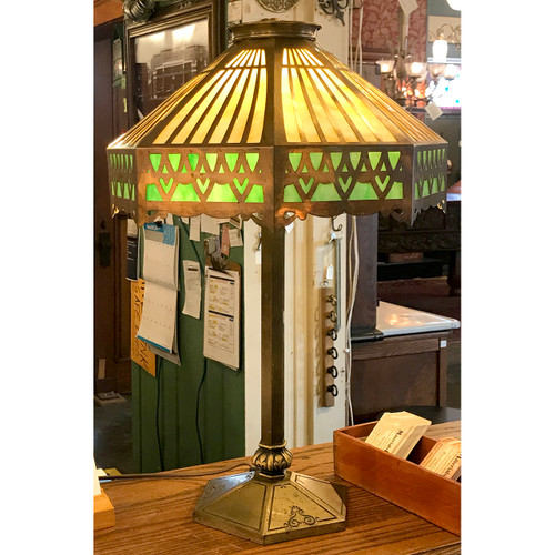 L21062 - Antique Pieced Brass and Slag Glass Table Lamp