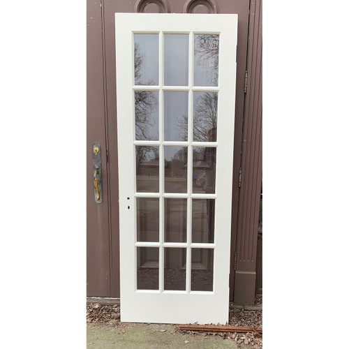 "D21033 - Antique Painted Mahogany French Door 29-3/4"" x 80"""
