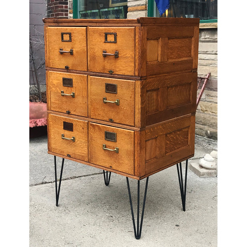 F21058 - Antique Stacking Oak Filing Cabinet
