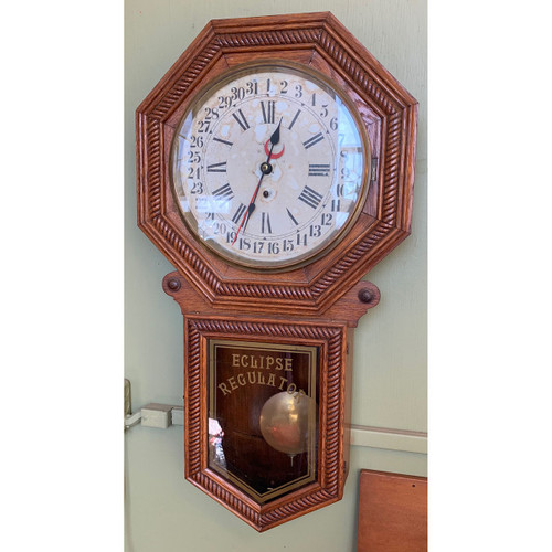 A21055 - Antique Carved Oak Wall Clock