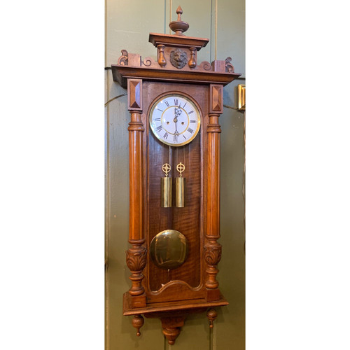 A21056 - Antique Carved Walnut Wall Clock