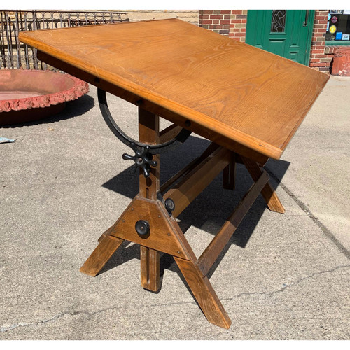 F21063 - Vintage Oak Drafting Table