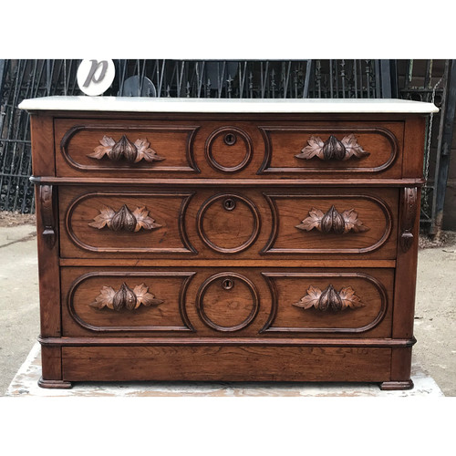 F21072 - Antique Rococo Revival Marble Top Walnut Dresser