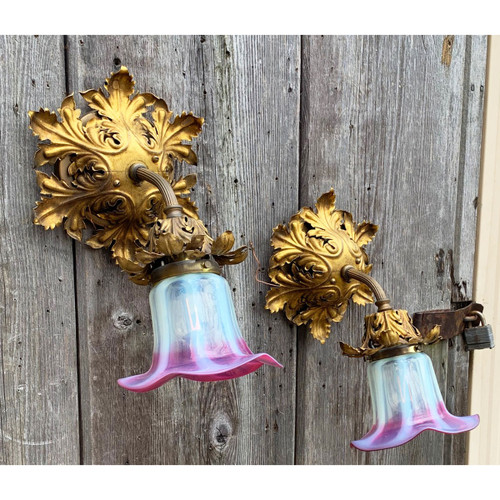 L21081 - Pair of Antique Late Victorian Wall Sconces