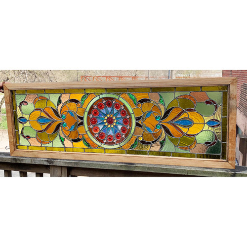 G21021 - Antique Stained & Jeweled Glass Window
