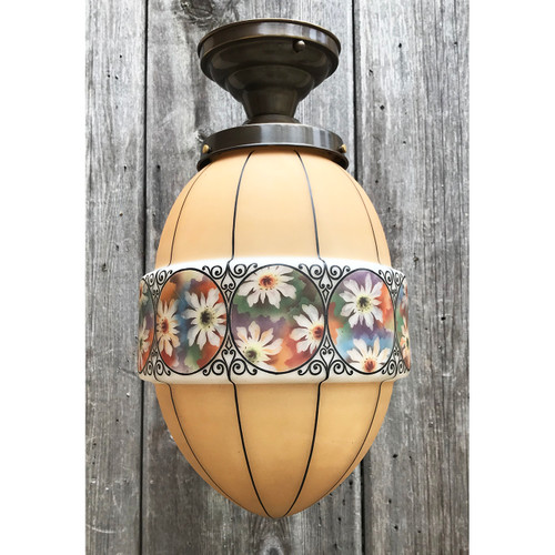 L21083 - Antique Bohemian Glass  Globe on Custom Fixture