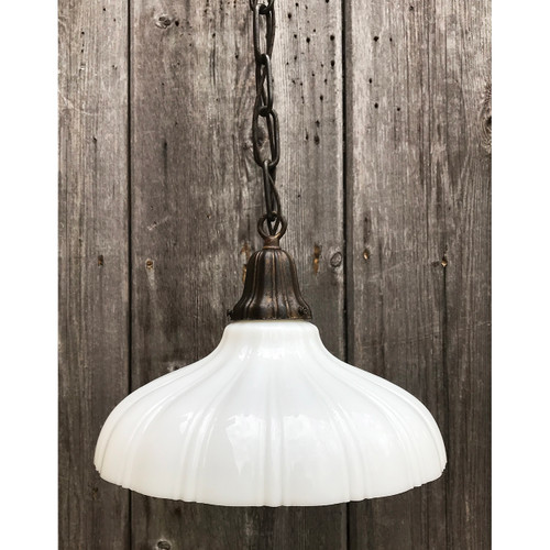 L21085 - Antique Sheffield Milk Glass Pendant Fixture