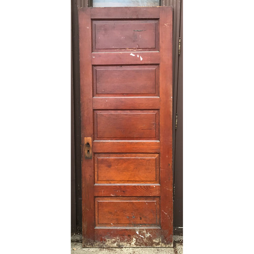 "D21047 - Antique Five Horizontal Panel Interior Door 29-3/4"" x 77-1/4"""
